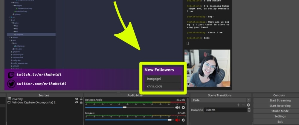 Creating a Twitch New Followers Overlay for OBS in PHP